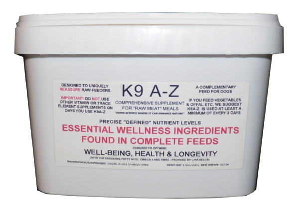 3 MONTH SUPPLY - SUPPLEMENT: K9 A-Z for DIY Raw - Essential Wellness Ingredients from Complete Food